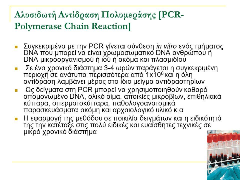 Αλυσιδωτή Αντίδραση Πολυμεράσης [PCR- Polymerase Chain Reaction] Συγκεκριμένα με την PCR γίνεται σύνθεση in vitro ενός τμήματος DNA που μπορεί να είνα