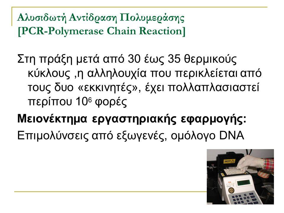 Αλυσιδωτή Αντίδραση Πολυμεράσης [PCR-Polymerase Chain Reaction] Στη πράξη μετά από 30 έως 35 θερμικούς κύκλους,η αλληλουχία που περικλείεται από τους