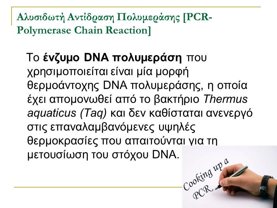 Αλυσιδωτή Αντίδραση Πολυμεράσης [PCR- Polymerase Chain Reaction] Το ένζυμο DNA πολυμεράση που χρησιμοποιείται είναι μία μορφή θερμοάντοχης DNA πολυμερ