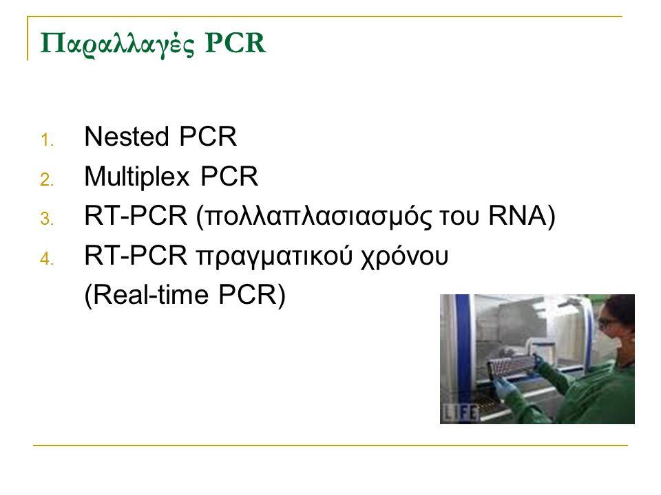 Παραλλαγές PCR 1. Nested PCR 2. Multiplex PCR 3. RT-PCR (πολλαπλασιασμός του RNA) 4. RT-PCR πραγματικού χρόνου (Real-time PCR)