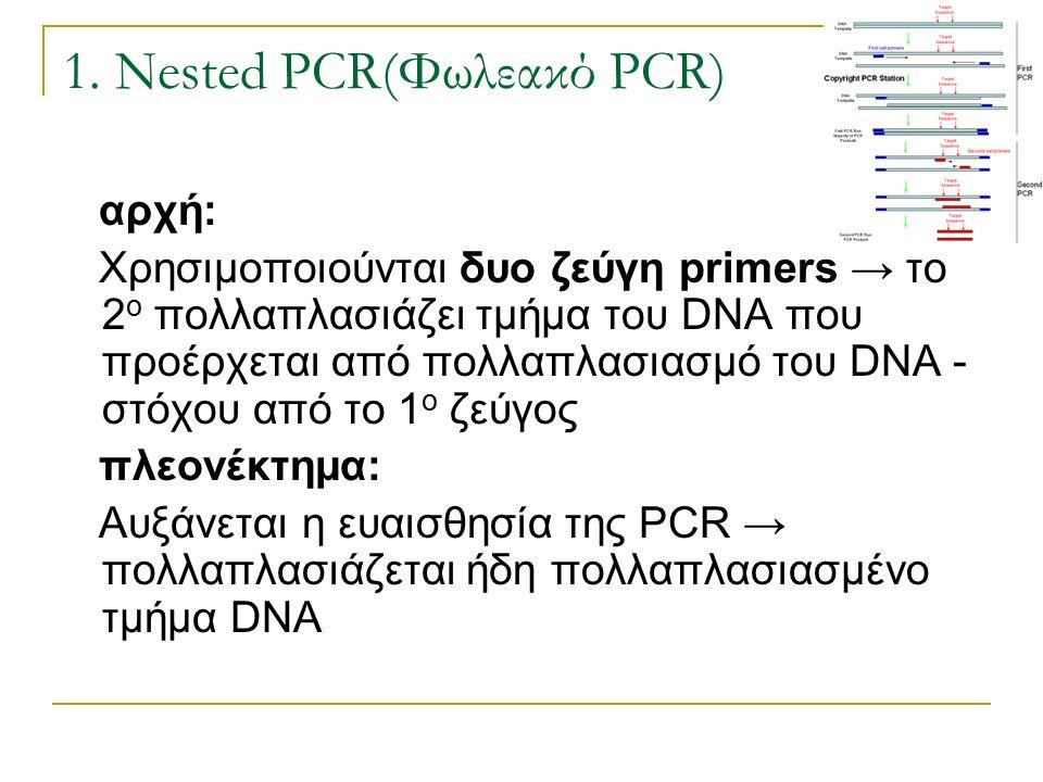 1. Nested PCR(Φωλεακό PCR) αρχή: Χρησιμοποιούνται δυο ζεύγη primers → το 2 ο πολλαπλασιάζει τμήμα του DNA που προέρχεται από πολλαπλασιασμό του DNA -