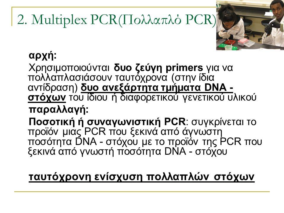 2. Multiplex PCR(Πολλαπλό PCR) αρχή: Χρησιμοποιούνται δυο ζεύγη primers για να πολλαπλασιάσουν ταυτόχρονα (στην ίδια αντίδραση) δυο ανεξάρτητα τμήματα