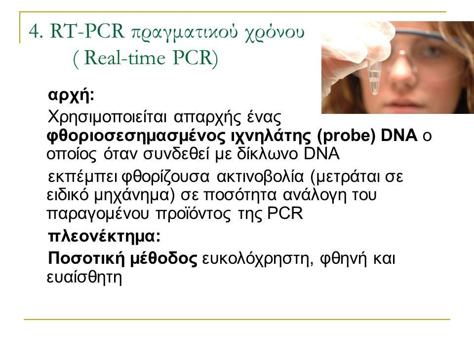 4. RT-PCR πραγματικού χρόνου ( Real-time PCR) αρχή: Χρησιμοποιείται απαρχής ένας φθοριοσεσημασμένος ιχνηλάτης (probe) DNA ο οποίος όταν συνδεθεί με δί