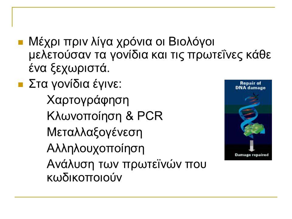 Μέχρι πριν λίγα χρόνια οι Βιολόγοι μελετούσαν τα γονίδια και τις πρωτεΐνες κάθε ένα ξεχωριστά. Στα γονίδια έγινε: Χαρτογράφηση Κλωνοποίηση & PCR Μεταλ
