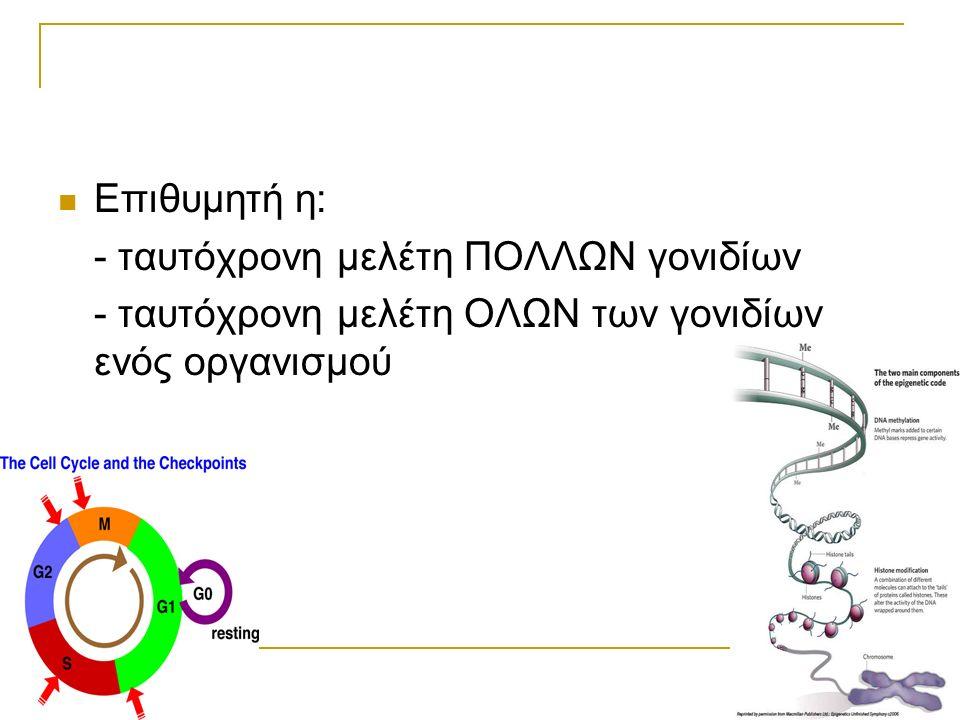 Επιθυμητή η: - ταυτόχρονη μελέτη ΠΟΛΛΩΝ γονιδίων - ταυτόχρονη μελέτη ΟΛΩΝ των γονιδίων ενός οργανισμού