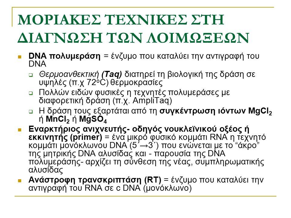 ΜΟΡΙΑΚΕΣ ΤΕΧΝΙΚΕΣ ΣΤΗ ΔΙΑΓΝΩΣΗ ΤΩΝ ΛΟΙΜΩΞΕΩΝ DNA πολυμεράση = ένζυμο που καταλύει την αντιγραφή του DNA  Θερμοανθεκτική (Taq) διατηρεί τη βιολογική τ
