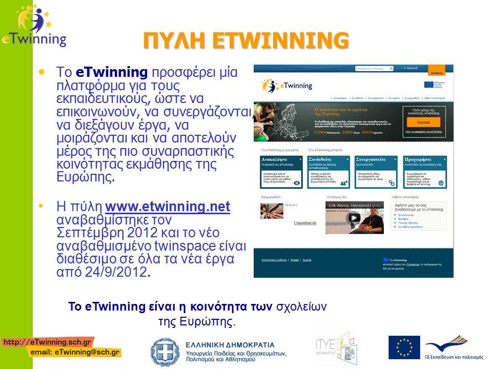 ΠΥΛΗ ETWINNING Το eTwinning προσφέρει μία πλατφόρμα για τους εκπαιδευτικούς, ώστε να επικοινωνούν, να συνεργάζονται, να διεξάγουν έργα, να μοιράζονται και να αποτελούν μέρος της πιο συναρπαστικής κοινότητας εκμάθησης της Ευρώπης.