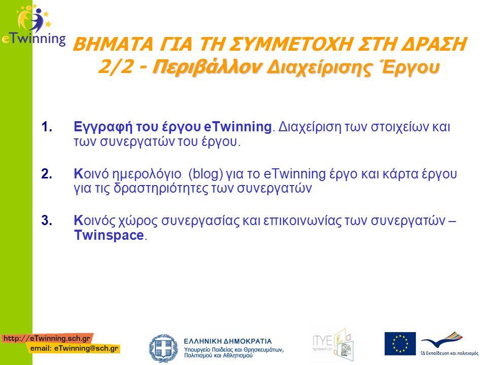 1.Εγγραφή του έργου eTwinning. Διαχείριση των στοιχείων και των συνεργατών του έργου.