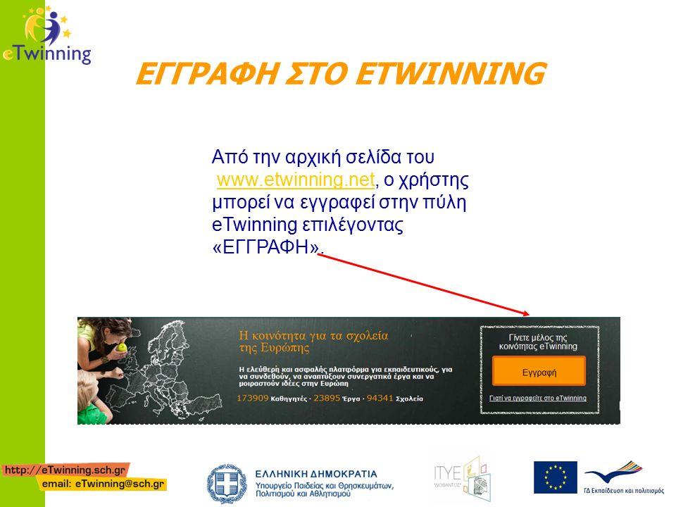 ΕΓΓΡΑΦΗ ΣΤΟ ETWINNING Από την αρχική σελίδα του www.etwinning.net, ο χρήστης μπορεί να εγγραφεί στην πύλη eTwinning επιλέγοντας «ΕΓΓΡΑΦΗ».www.etwinning.net