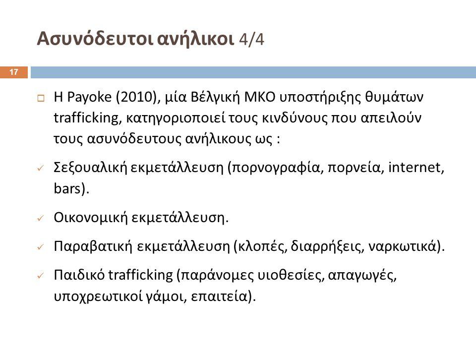 Ασυνόδευτοι ανήλικοι 4/4  Η Payoke (2010), μία Βέλγική ΜΚΟ υποστήριξης θυμάτων trafficking, κατηγοριοποιεί τους κινδύνους που απειλούν τους ασυνόδευτους ανήλικους ως : Σεξουαλική εκμετάλλευση (πορνογραφία, πορνεία, internet, bars).