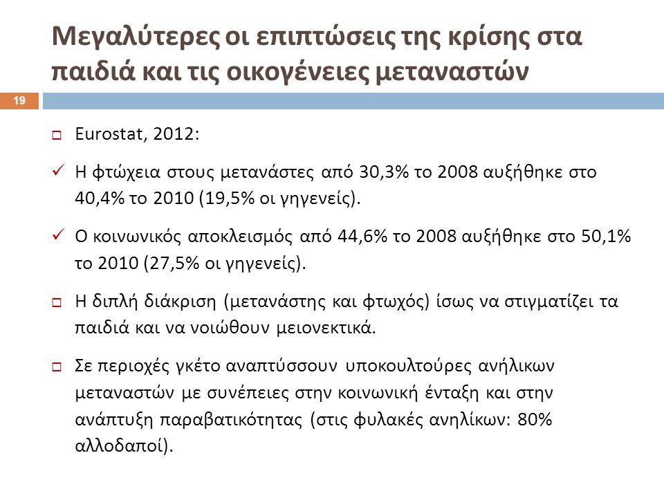  Eurostat, 2012: Η φτώχεια στους μετανάστες από 30,3% το 2008 αυξήθηκε στο 40,4% το 2010 (19,5% οι γηγενείς).