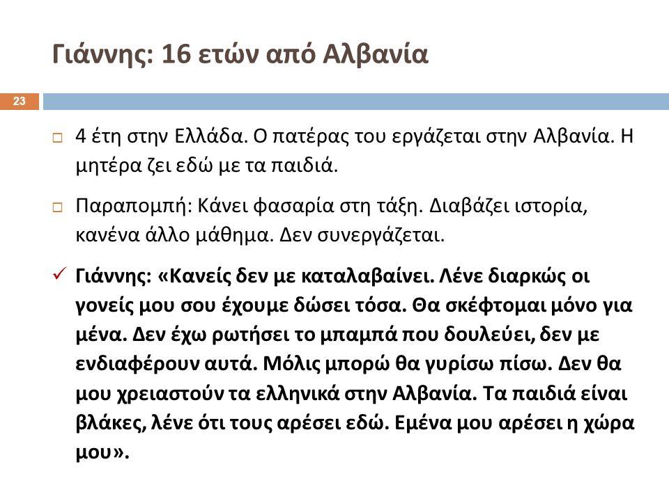  4 έτη στην Ελλάδα. Ο πατέρας του εργάζεται στην Αλβανία.