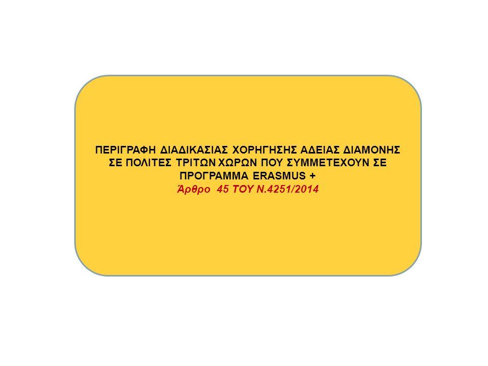 ΠΕΡΙΓΡΑΦΗ ΔΙΑΔΙΚΑΣΙΑΣ ΧΟΡΗΓΗΣΗΣ ΑΔΕΙΑΣ ΔΙΑΜΟΝΗΣ ΣΕ ΠΟΛΙΤΕΣ ΤΡΙΤΩΝ ΧΩΡΩΝ ΠΟΥ ΣΥΜΜΕΤΕΧΟΥΝ ΣΕ ΠΡΟΓΡΑΜΜΑ ERASMUS + Άρθρο 45 ΤΟΥ Ν.4251/2014