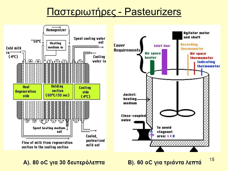 15 Παστεριωτήρες - Pasteurizers Β). 60 οC για τριάντα λεπτάΑ). 80 οC για 30 δευτερόλεπτα