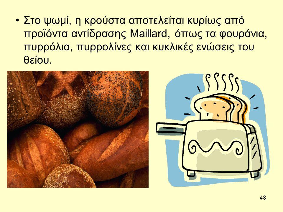 48 Στο ψωμί, η κρούστα αποτελείται κυρίως από προϊόντα αντίδρασης Maillard, όπως τα φουράνια, πυρρόλια, πυρρολίνες και κυκλικές ενώσεις του θείου.