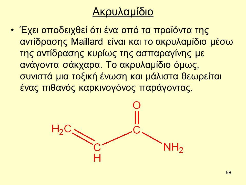 58 Ακρυλαμίδιο Έχει αποδειχθεί ότι ένα από τα προϊόντα της αντίδρασης Maillard είναι και το ακρυλαμίδιο μέσω της αντίδρασης κυρίως της ασπαραγίνης με ανάγοντα σάκχαρα.