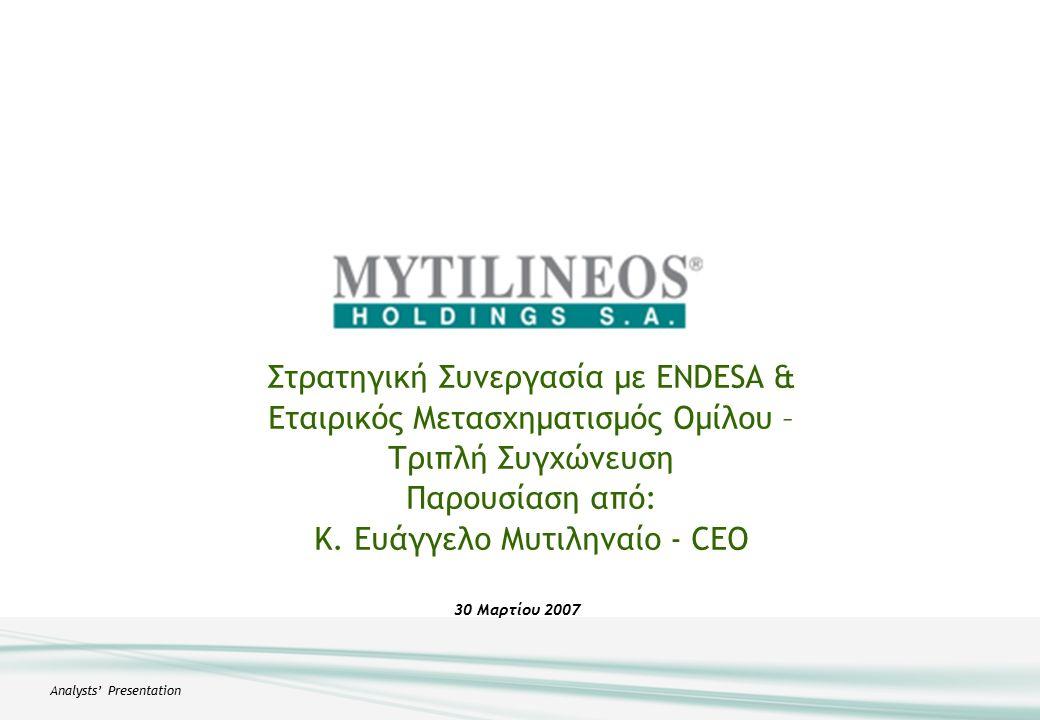 Analysts' Presentation 30 Mαρτίου 2007 Στρατηγική Συνεργασία με ENDESA & Εταιρικός Μετασχηματισμός Ομίλου – Τριπλή Συγχώνευση Παρουσίαση από: Κ.