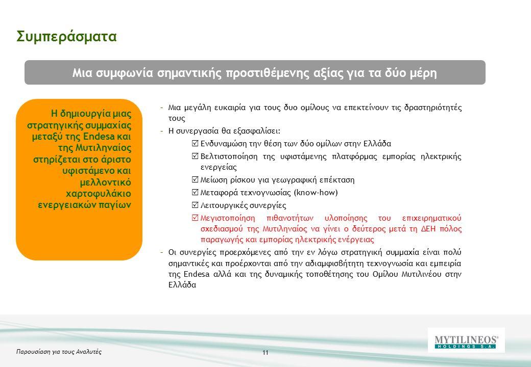 Παρουσίαση για τους Αναλυτές 11 Συμπεράσματα Η δημιουργία μιας στρατηγικής συμμαχίας μεταξύ της Endesa και της Μυτιληναίος στηρίζεται στο άριστο υφιστάμενο και μελλοντικό χαρτοφυλάκιο ενεργειακών παγίων –Μια μεγάλη ευκαιρία για τους δυο ομίλους να επεκτείνουν τις δραστηριότητές τους –Η συνεργασία θα εξασφαλίσει:  Ενδυναμώση την θέση των δύο ομίλων στην Ελλάδα  Βελτιστοποίηση της υφιστάμενης πλατφόρμας εμπορίας ηλεκτρικής ενεργείας  Μείωση ρίσκου για γεωγραφική επέκταση  Μεταφορά τεχνογνωσίας (know-how)  Λειτουργικές συνεργίες  Μεγιστοποίηση πιθανοτήτων υλοποίησης του επιχειρηματικού σχεδιασμού της Μυτιληναίος να γίνει ο δεύτερος μετά τη ΔΕΗ πόλος παραγωγής και εμπορίας ηλεκτρικής ενέργειας –Οι συνεργίες προερχόμενες από την εν λόγω στρατηγική συμμαχία είναι πολύ σημαντικές και προέρχονται από την αδιαμφισβήτητη τεχνογνωσία και εμπειρία της Endesa αλλά και της δυναμικής τοποθέτησης του Ομίλου Μυτιλινέου στην Ελλάδα Μια συμφωνία σημαντικής προστιθέμενης αξίας για τα δύο μέρη