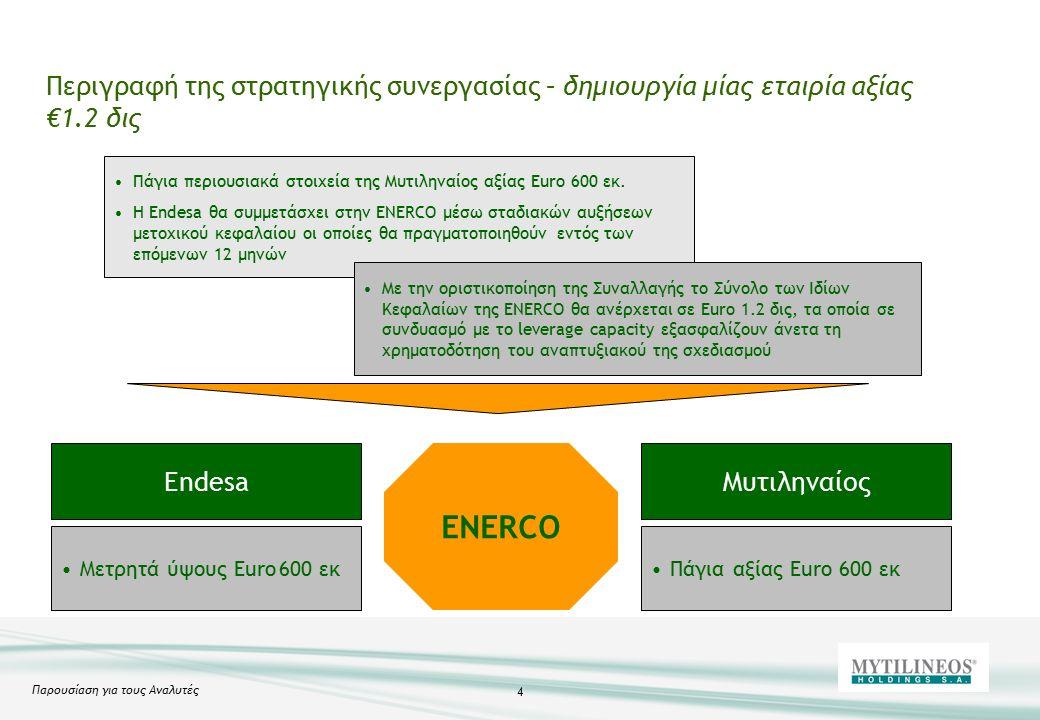 Παρουσίαση για τους Αναλυτές 4 Πάγια περιουσιακά στοιχεία της Μυτιληναίος αξίας Euro 600 εκ.