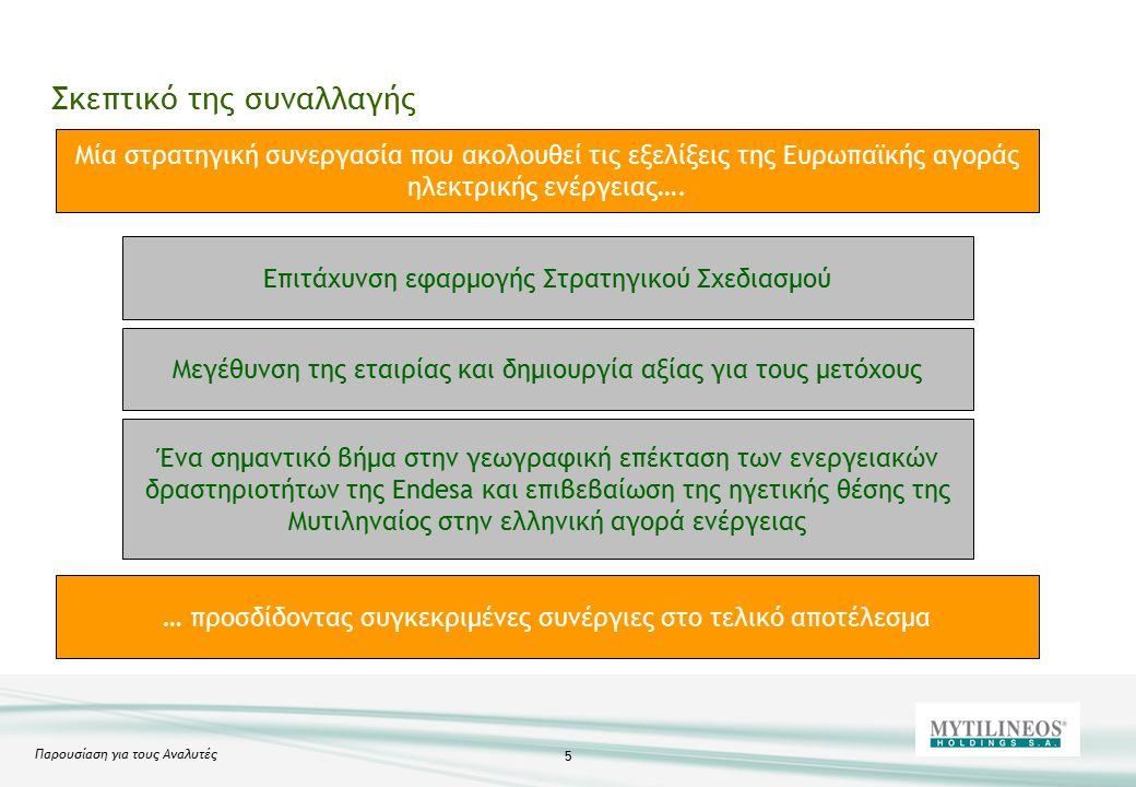 Παρουσίαση για τους Αναλυτές 5 Σκεπτικό της συναλλαγής Μία στρατηγική συνεργασία που ακολουθεί τις εξελίξεις της Ευρωπαϊκής αγοράς ηλεκτρικής ενέργειας….