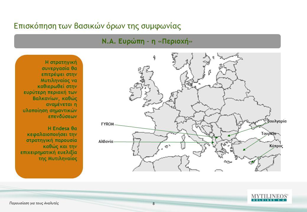 Παρουσίαση για τους Αναλυτές 8 Επισκόπηση των βασικών όρων της συμφωνίας Βουλγαρία FYROM Αλβανία Κύπρος Τουρκία Ν.Α.