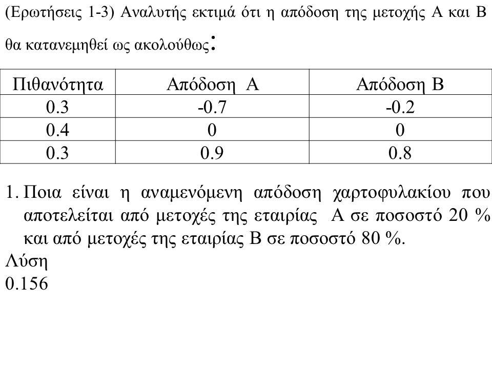 (Ερωτήσεις 1-3) Αναλυτής εκτιμά ότι η απόδοση της μετοχής Α και Β θα κατανεμηθεί ως ακολούθως : ΠιθανότηταΑπόδοση ΑΑπόδοση Β 0.3-0.7-0.2 0.400 0.30.90.8 1.Ποια είναι η αναμενόμενη απόδοση χαρτοφυλακίου που αποτελείται από μετοχές της εταιρίας Α σε ποσοστό 20 % και από μετοχές της εταιρίας Β σε ποσοστό 80 %.