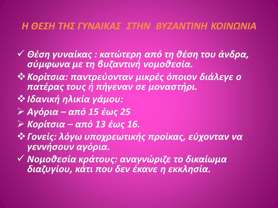 Η ΘΕΣΗ ΤΗΣ ΓΥΝΑΙΚΑΣ ΣΤΗΝ ΒΥΖΑΝΤΙΝΗ ΚΟΙΝΩΝΙΑ Θέση γυναίκας : κατώτερη από τη θέση του άνδρα, σύμφωνα με τη βυζαντινή νομοθεσία.  Κορίτσια: παντρεύοντα