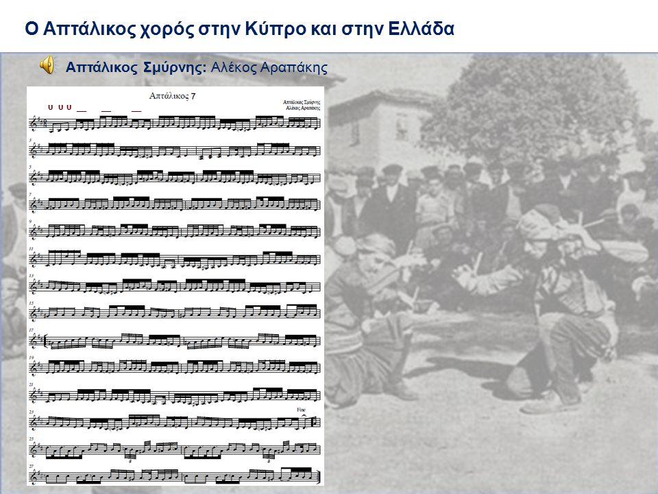 Ο Απτάλικος χορός στην Κύπρο και στην Ελλάδα Απτάλικος Σμύρνης: Αλέκος Αραπάκης υ υ υ __ __ __