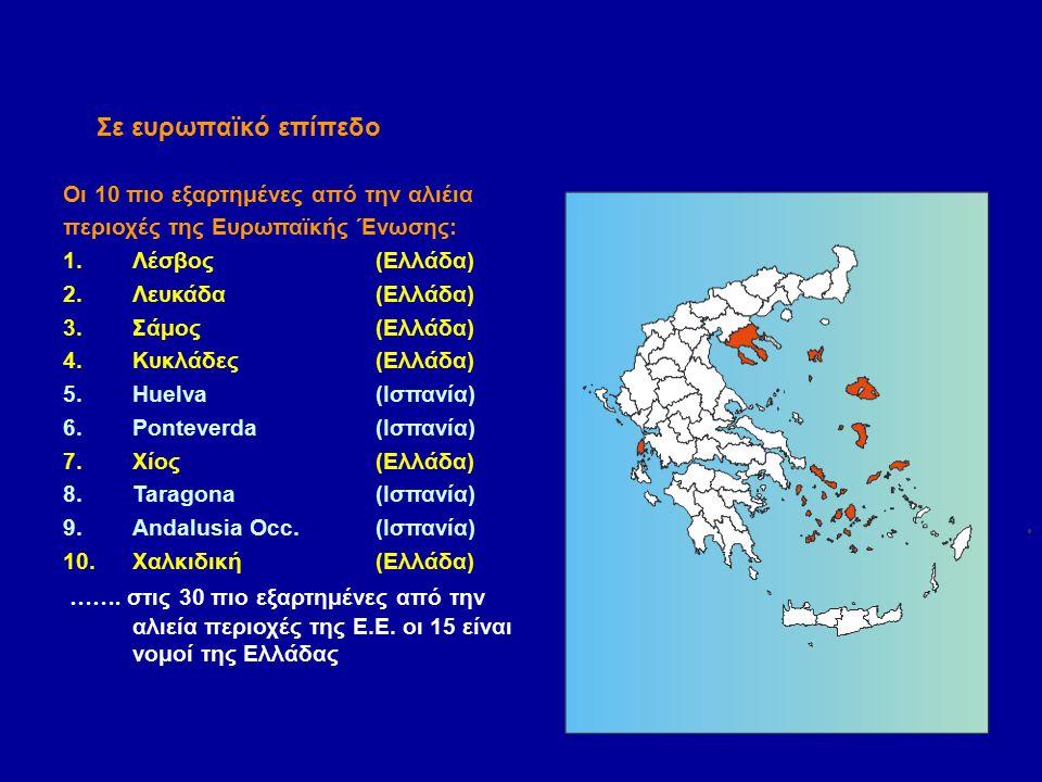Οι 10 πιο εξαρτημένες από την αλιέια περιοχές της Ευρωπαϊκής Ένωσης: 1.Λέσβος(Ελλάδα) 2.Λευκάδα (Ελλάδα) 3.Σάμος(Ελλάδα) 4.Κυκλάδες(Ελλάδα) 5.Huelva(Ισπανία) 6.Ponteverda(Ισπανία) 7.Χίος(Ελλάδα) 8.Taragona(Ισπανία) 9.Andalusia Occ.