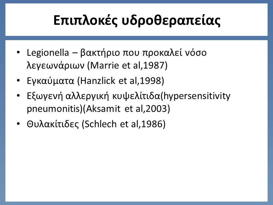 Επιπλοκές υδροθεραπείας Legionella – βακτήριο που προκαλεί νόσο λεγεωνάριων (Marrie et al,1987) Εγκαύματα (Hanzlick et al,1998) Εξωγενή αλλεργική κυψελίτιδα(hypersensitivity pneumonitis)(Aksamit et al,2003) Θυλακίτιδες (Schlech et al,1986)