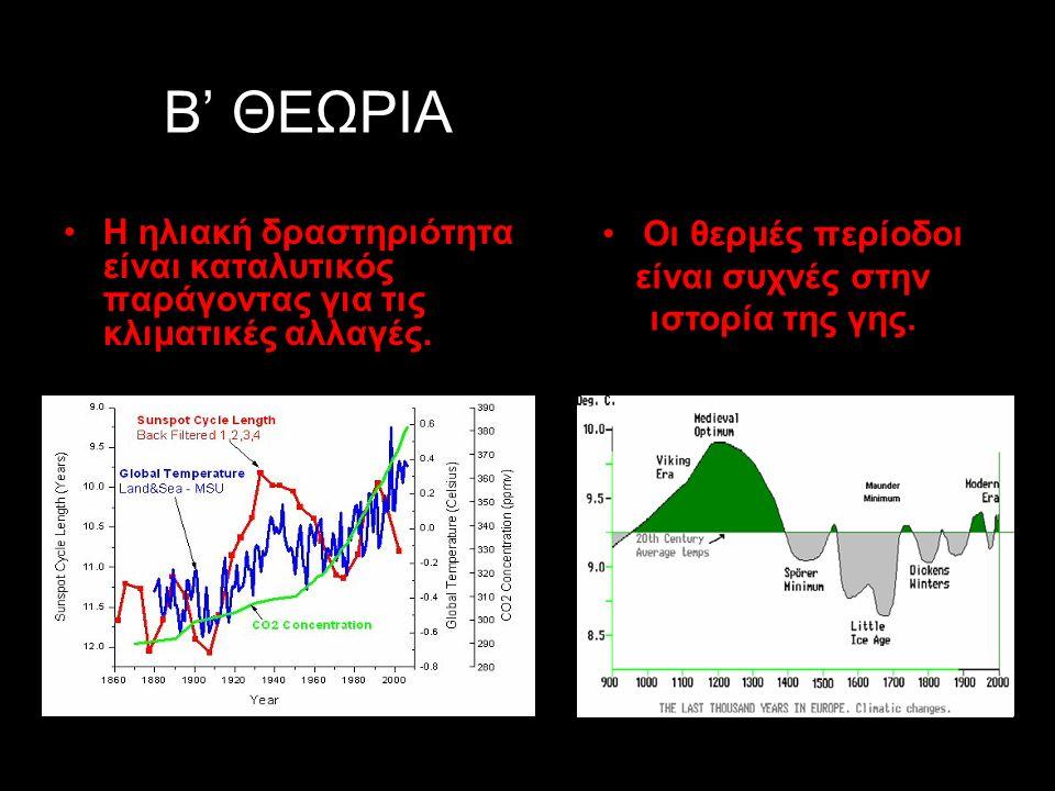 ΟΙ 2 ΘΕΩΡΙΕΣ ΓΙΑ ΤΙΣ ΚΛΙΜΑΤΙΚΕΣ ΑΛΛΑΓΕΣ Α' ΘΕΩΡΙΑ Η αύξηση του μέσου όρου της θερμοκρασίας παγκοσμίως από τα μέσα του 20 αιώνα μέχρι σήμερα προκλήθηκε πιθανόν λόγω της παρατηρημένης αύξησης στη συγκέντρωση των αερίων του θερμοκηπίου(CO2, CH4, NxOψ).