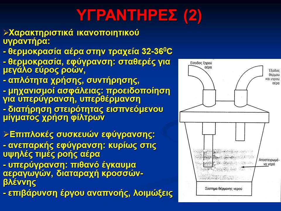  Χαρακτηριστικά ικανοποιητικού υγραντήρα: - θερμοκρασία αέρα στην τραχεία 32-36 0 C - θερμοκρασία, εφύγρανση: σταθερές για μεγάλο εύρος ροών, - απλότητα χρήσης, συντήρησης, - μηχανισμοί ασφάλειας: προειδοποίηση για υπερύγρανση, υπερθέρμανση - διατήρηση στειρότητας εισπνεόμενου μίγματος χρήση φίλτρων  Επιπλοκές συσκευών εφύγρανσης: - ανεπαρκής εφύγρανση: κυρίως στις υψηλές τιμές ροής αέρα - υπερύγρανση: πιθανό έγκαυμα αεραγωγών, διαταραχή κροσσών- βλέννης - επιβάρυνση έργου αναπνοής, λοιμώξεις ΥΓΡΑΝΤΗΡΕΣ (2)