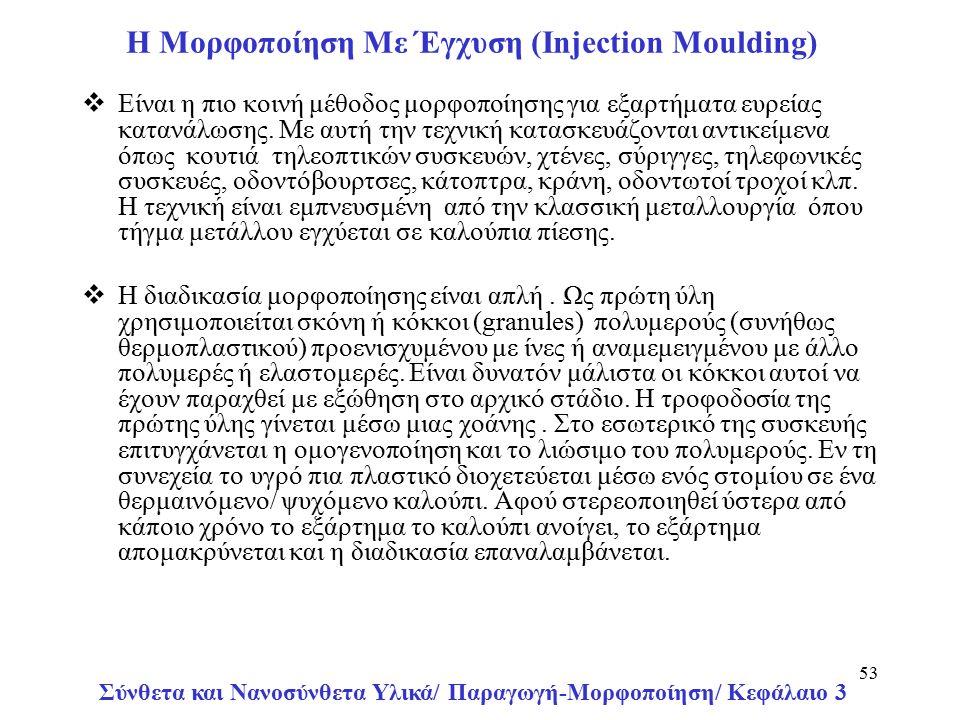Σύνθετα και Νανοσύνθετα Υλικά/ Παραγωγή-Μορφοποίηση/ Κεφάλαιο 3 53 H Μορφοποίηση Με Έγχυση (Injection Moulding)  Είναι η πιο κοινή μέθοδος μορφοποίησης για εξαρτήματα ευρείας κατανάλωσης.