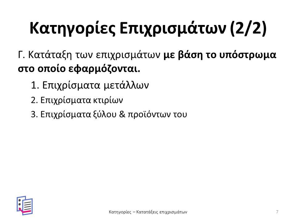 Κατηγορίες Επιχρισμάτων (2/2) Γ. Κατάταξη των επιχρισμάτων με βάση το υπόστρωμα στο οποίο εφαρμόζονται. 1. Επιχρίσματα μετάλλων 2. Επιχρίσματα κτιρίων