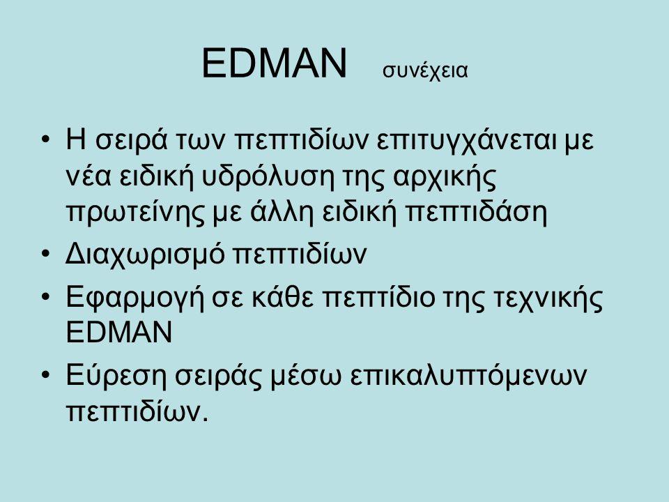 ΕDMAN συνέχεια Η σειρά των πεπτιδίων επιτυγχάνεται με νέα ειδική υδρόλυση της αρχικής πρωτείνης με άλλη ειδική πεπτιδάση Διαχωρισμό πεπτιδίων Εφαρμογή σε κάθε πεπτίδιο της τεχνικής EDMAN Eύρεση σειράς μέσω επικαλυπτόμενων πεπτιδίων.
