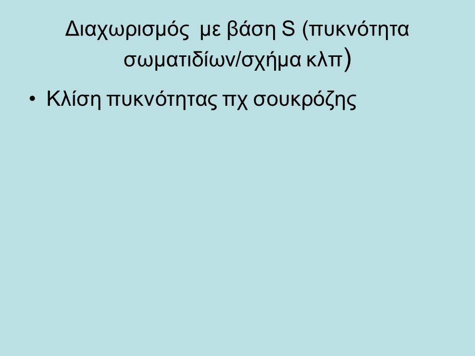 Διαχωρισμός με βάση S (πυκνότητα σωματιδίων/σχήμα κλπ ) Κλίση πυκνότητας πχ σουκρόζης