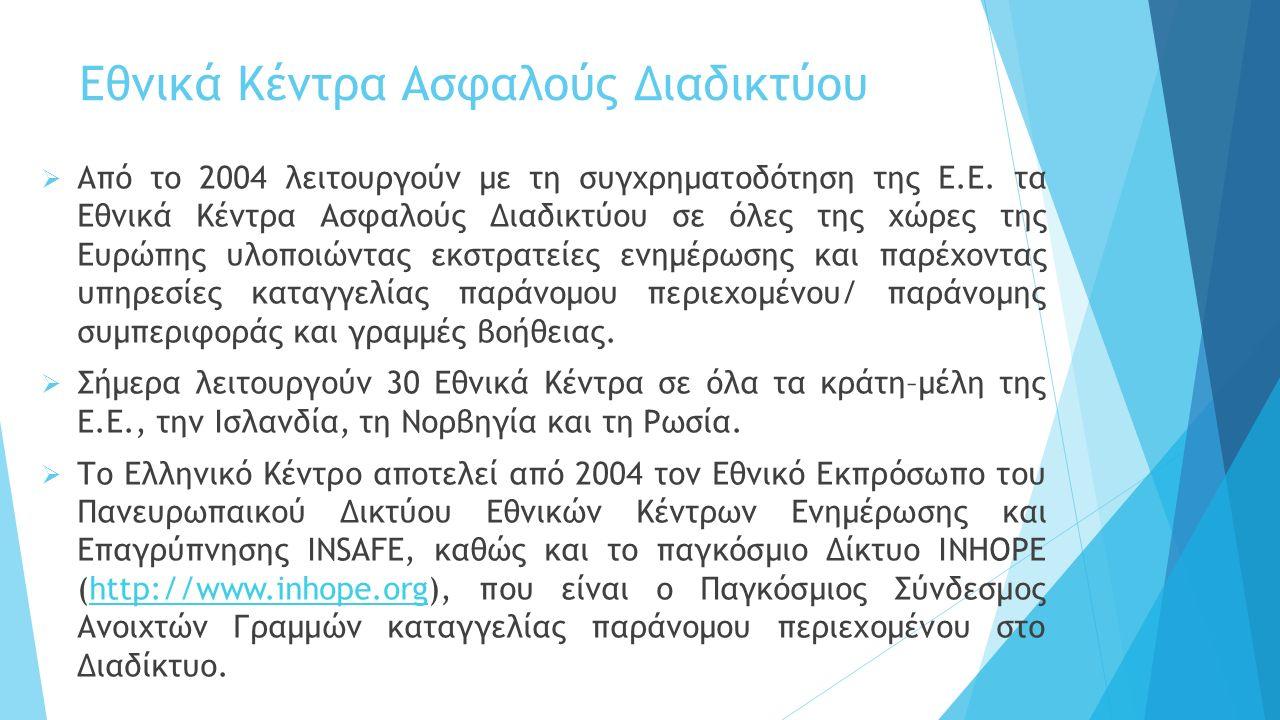 Το Ελληνικό Κέντρο Ασφαλούς Διαδικτύου αποτελείται από τρεις άξονες δράσης:  Saferinternet.gr: Δράση ενημέρωσης και επαγρύπνησης γύρω από την ασφαλή και ορθή χρήση των διαδραστικών τεχνολογιών και γύρω από την προστασία των ανηλίκων από παράνομο και επιβλαβές περιεχόμενο στο Διαδίκτυο http://www.saferinternet.gr http://www.saferinternet.gr  SafeLine.gr: Ανοιχτή γραμμή που δέχεται καταγγελίες για παράνομο περιεχόμενο ή παράνομη συμπεριφορά στο Διαδίκτυο http://www.safeline.gr http://www.safeline.gr  ΥποΣΤΗΡΙΖΩ: Γραμμή βοήθειας 8001180015 για παιδιά και εφήβους, η οποία υλοποιείται από τη Μονάδα Εφηβικής Υγείας, Β΄ Παιδιατρική Κλινική Πανεπιστημίου Αθηνών, Νοσοκομείο Παίδων Π.& Α.