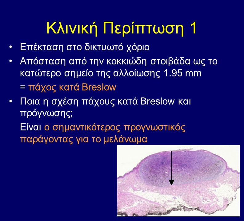 Κλινική Περίπτωση 1 Επέκταση στο δικτυωτό χόριο Απόσταση από την κοκκιώδη στοιβάδα ως το κατώτερο σημείο της αλλοίωσης 1.95 mm = πάχος κατά Breslow Ποια η σχέση πάχους κατά Breslow και πρόγνωσης; Είναι ο σημαντικότερος προγνωστικός παράγοντας για το μελάνωμα