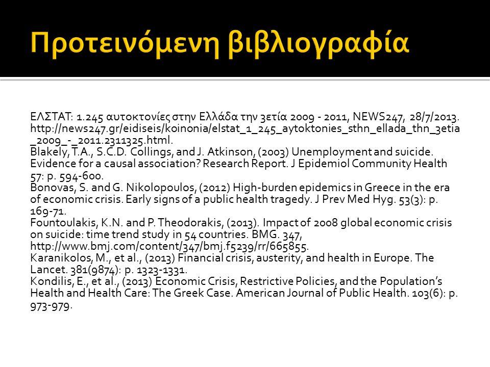 ΕΛΣΤΑΤ: 1.245 αυτοκτονίες στην Ελλάδα την 3ετία 2009 - 2011, NEWS247, 28/7/2013. http://news247.gr/eidiseis/koinonia/elstat_1_245_aytoktonies_sthn_ell