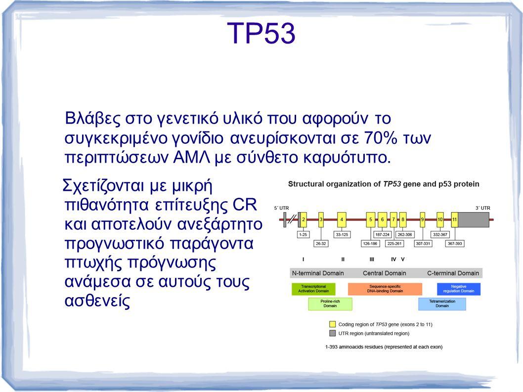 TΡ53 Βλάβες στο γενετικό υλικό που αφορούν το συγκεκριμένο γονίδιο ανευρίσκονται σε 70% των περιπτώσεων ΑΜΛ με σύνθετο καρυότυπο. Σχετίζονται με μικρή