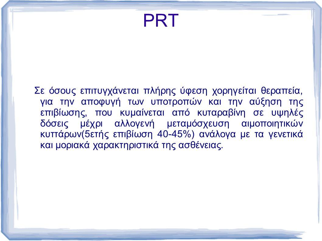 PRT Σε όσους επιτυγχάνεται πλήρης ύφεση χορηγείται θεραπεία, για την αποφυγή των υποτροπών και την αύξηση της επιβίωσης, που κυμαίνεται από κυταραβίνη