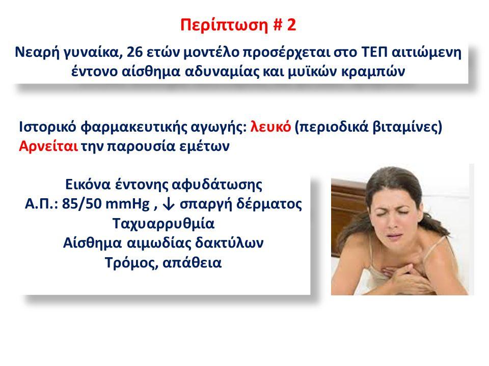 Περίπτωση # 2 Νεαρή γυναίκα, 26 ετών μοντέλο προσέρχεται στο ΤΕΠ αιτιώμενη έντονο αίσθημα αδυναμίας και μυϊκών κραμπών Ιστορικό φαρμακευτικής αγωγής: λευκό (περιοδικά βιταμίνες) Αρνείται την παρουσία εμέτων Εικόνα έντονης αφυδάτωσης Α.Π.: 85/50 mmHg, ↓ σπαργή δέρματος Ταχυαρρυθμία Αίσθημα αιμωδίας δακτύλων Τρόμος, απάθεια Εικόνα έντονης αφυδάτωσης Α.Π.: 85/50 mmHg, ↓ σπαργή δέρματος Ταχυαρρυθμία Αίσθημα αιμωδίας δακτύλων Τρόμος, απάθεια