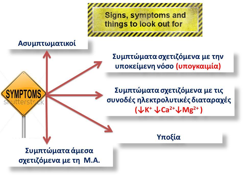 Συμπτώματα σχετιζόμενα με τις συνοδές ηλεκτρολυτικές διαταραχές (↓Κ + ↓Ca 2+ ↓Mg 2+ ) Συμπτώματα άμεσα σχετιζόμενα με τη M.A.