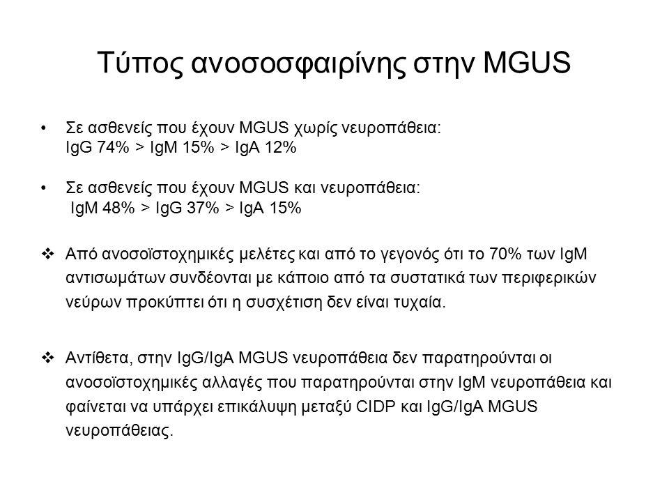 Τύπος ανοσοσφαιρίνης στην MGUS Σε ασθενείς που έχουν MGUS χωρίς νευροπάθεια: IgG 74% > IgM 15% > IgA 12% Σε ασθενείς που έχουν MGUS και νευροπάθεια: I