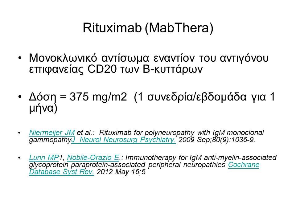 Rituximab (MabThera) Μονοκλωνικό αντίσωμα εναντίον του αντιγόνου επιφανείας CD20 των Β-κυττάρων Δόση = 375 mg/m2 (1 συνεδρία/εβδομάδα για 1 μήνα) Nier