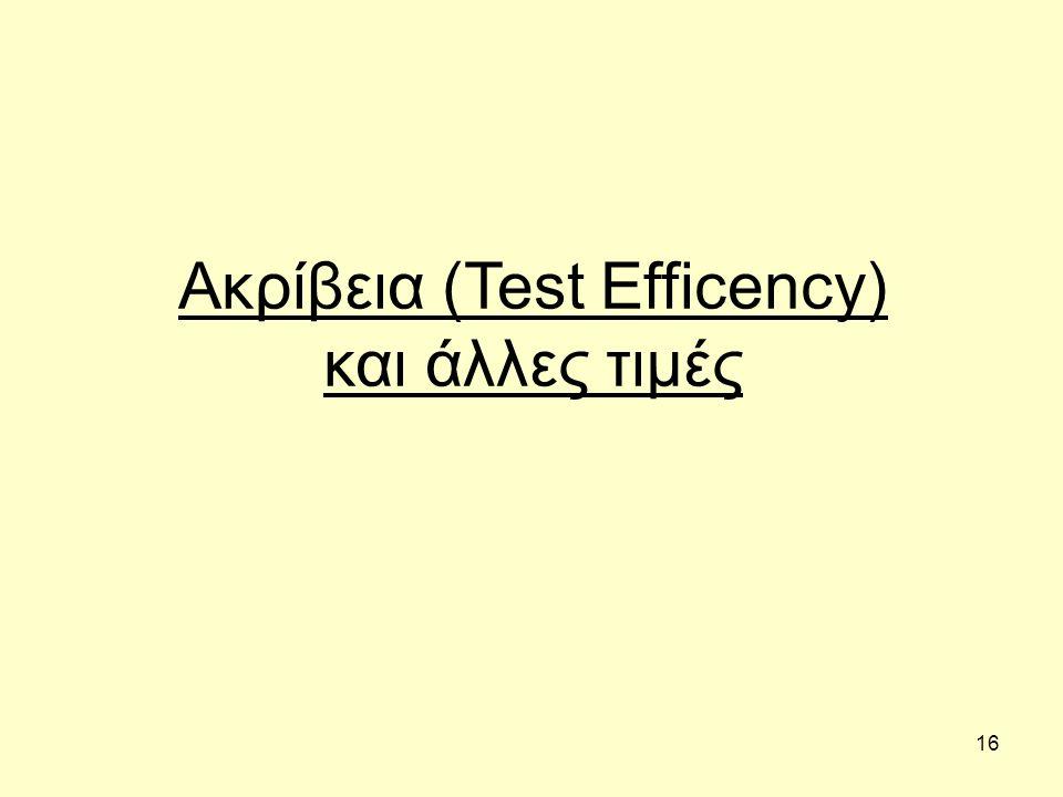 16 Ακρίβεια (Test Efficency) και άλλες τιμές