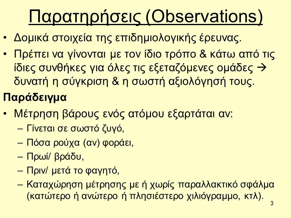 3 Παρατηρήσεις (Observations) Δομικά στοιχεία της επιδημιολογικής έρευνας.