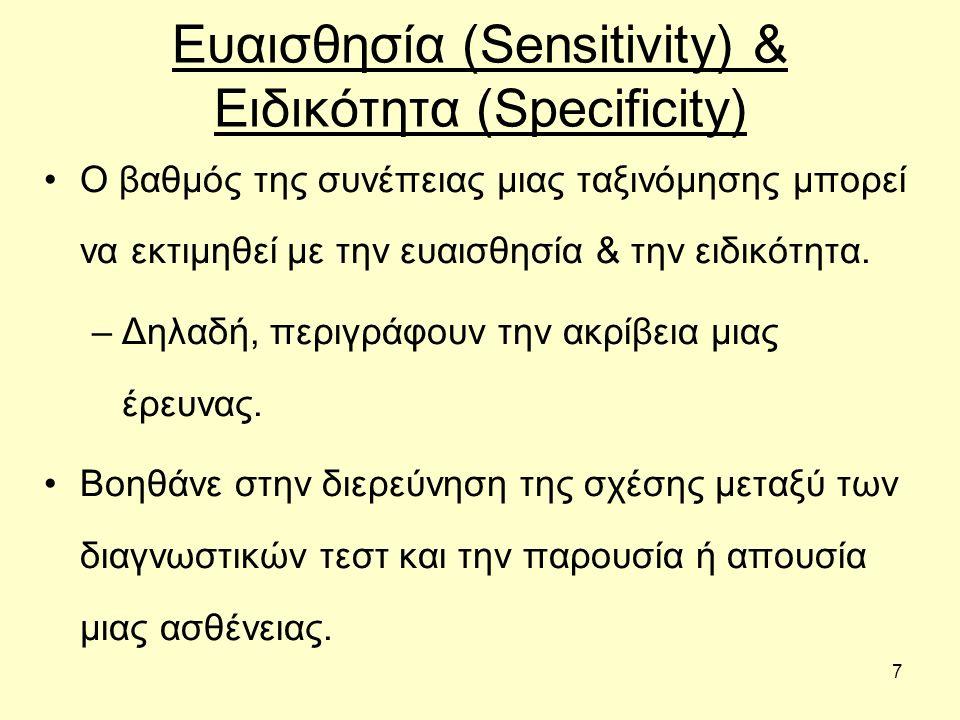 7 Ευαισθησία (Sensitivity) & Ειδικότητα (Specificity) Ο βαθμός της συνέπειας μιας ταξινόμησης μπορεί να εκτιμηθεί με την ευαισθησία & την ειδικότητα.