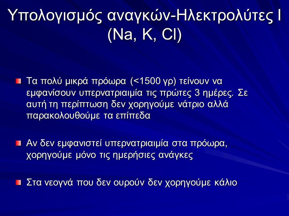 Υπολογισμός αναγκών-Ηλεκτρολύτες Ι (Νa, K, Cl) Τα πολύ μικρά πρόωρα (<1500 γρ) τείνουν να εμφανίσουν υπερνατριαιμία τις πρώτες 3 ημέρες.