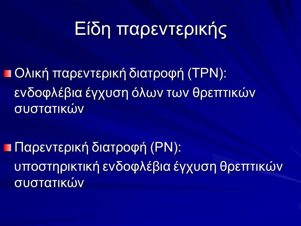 Είδη παρεντερικής Ολική παρεντερική διατροφή (TPN): ενδοφλέβια έγχυση όλων των θρεπτικών συστατικών ενδοφλέβια έγχυση όλων των θρεπτικών συστατικών Παρεντερική διατροφή (PN): υποστηρικτική ενδοφλέβια έγχυση θρεπτικών συστατικών υποστηρικτική ενδοφλέβια έγχυση θρεπτικών συστατικών